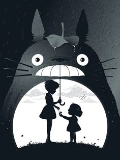 "Totoro - Created by Guillaume Morellec | Tumblr Part of the ""Miscellaneous Mayhem"" art show, opening Friday, June 13th 2014, at the Bottleneck Gallery 