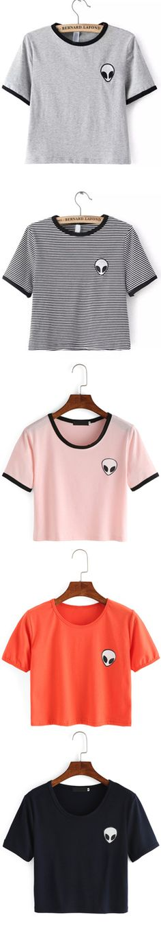 Alien Print Crop T-Shirt, unique but simple tee pattern. Only $9.90. View more cute tees at Shein.com