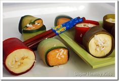 Fruit Sushi wrapped in healthy fruit leather. Make back to school lunches fun with fruit sushi! Would your kids enjoy this?