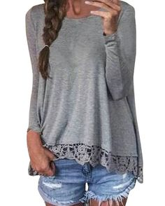 ZANZEA Women's Casual Crochet Lace Long Sleeve Patchwork Solid Color T-Shirts Tops Blouse Gray UK 16