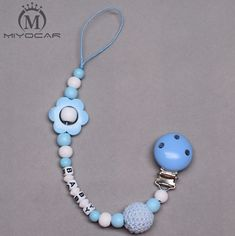 Personalised -Any name lovely light blue flower and wooden beads dummy clip holder pacifier clips soother chain teether clip
