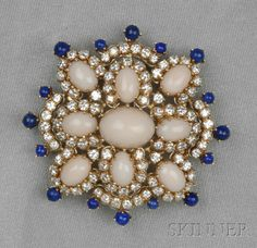 18kt Gold, Coral, Lapis, and Diamond Pendant/Brooch
