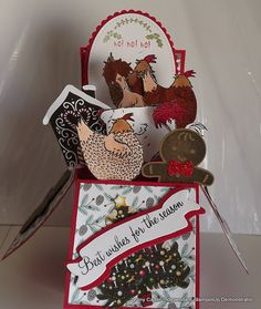 Had to make this for my daughter and kids they are mad on chocks from the SAB Hey chick stamp set (Nur Abb. Fancy Fold Cards, Folded Cards, Pop Up Box Cards, Card Boxes, Stamping Up Cards, Stampin Up Christmas, Bird Cards, Creative Cards, Homemade Cards