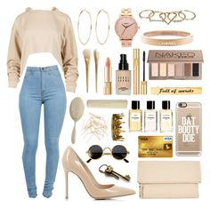 """""""You can never have too much nude!"""" by polyvore-roleplayer ❤ liked on Polyvore featuring Gianvito Rossi, Chanel, Nixon, River Island, Kin by John Lewis, Zimmermann, Urban Decay, Bobbi Brown Cosmetics, Yves Saint Laurent and Casetify"""