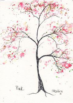Pink Dogwood, Tree 5 x 7, watercolor