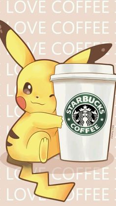 PIKACHU HOLDING A BIG CUP OF STARBUCKS COFFEE <3