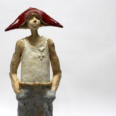 Boy in a red cap/Ceramic Sculpture/ Unique Ceramic Figurine by arekszwed on Etsy