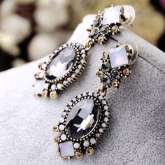 Zoshi black crystal dangle earrings đối với phụ nữ wedding party bridal phụ kiện hợp thời trang dài thời trang đồ trang sức kỳ nghỉ bông tai