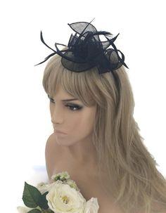Elegant Black Rose Design Fascinator Headband Hatinator Weddings or Races