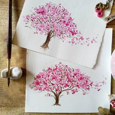 Pin by Kathryn Newman on Watercolor Watercolor Mandala, Watercolor Trees, Watercolor Cards, Watercolour Painting, Watercolor Flowers, Cherry Blossom Art, Blossom Trees, Flower Art, Art Drawings
