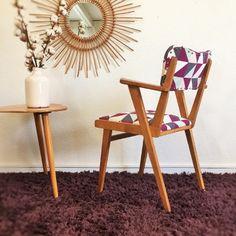 Hyacinthe, le fauteuil bridge vintage, bois et tissus, rénové