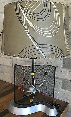 VTG 50s ATOMIC BALL LAMP FIBERGLASS SHADE MID CENTURY MODERN RETRO SPACE AGE