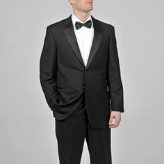 @Overstock - The jacket of this handsome black tuxedo by Caravelli features a notched collar, front flap pockets and a chest pocket all lined with a satin finish. The coordinating pants are front lined in a satin finish, left unhemmed to ensure the perfect fit.  http://www.overstock.com/Clothing-Shoes/Caravelli-Mens-Black-Tuxedo/6542745/product.html?CID=214117 $99.99