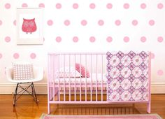 Use this Polka dots wall decal Set to pattern to your walls. The large quantity of polka dots will give the look of wallpaper!