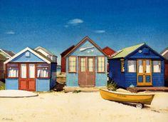 Beach Hut   Three Beach Huts by Margaret Heath Art Print - WorldGallery.co.uk