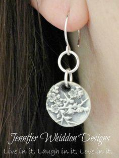 Cherry Blossom Earrings in Fine Silver by Jlwhiddon on Etsy,