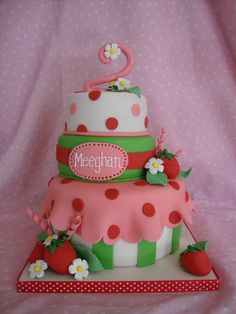 Cute Strawberry Shortcake Theme Cake
