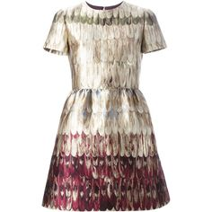 Valentino 'Feathered Colour' jacquard mini dress ($6,395) ❤ liked on Polyvore featuring dresses, vestidos, circle skirt, short feather dress, flared skirt, feather dress and short sleeve dress