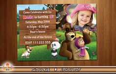Masha and the Bear Birthday Invitation Photo by SalensSVR on Etsy
