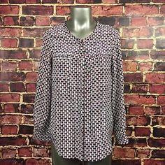 Joie Sailboat Print Silk Button Down Shirt Size XS Blue Red Long Sleeve Blouse | eBay