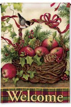 Welcome Bird on Basket of Apples Holly Berries Pinecone Winter Garden Flag | eBay
