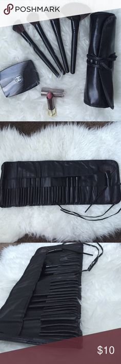 ✨BLACK ROLL UP FAUX LEATHER MAKE UP BRUSH CASE✨ 32 piece case for all your makeup brushes! Different sized slots to ensure all your brushes are packed safely and securely! Great for traveling or even just removing some clutter from the vanity! DOES NOT COME WITH BRUSHES OR CHANEL MAKEUP OR THE URBAN DECAY LIPSTICK SEEN IN PHOTOS ✨Not MAC✨ MAC Cosmetics Makeup Brushes & Tools