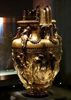 The Derveni krater, a unique masterpiece of metalworking of the 4th c. BC. Bronze. An inscription with silver letters along the rim offers us the owner's name: it belonged to Astion, son of Anaxagoras, who originated from Larissa. -Thessaloniki, Archaeological Museum-