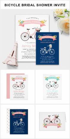 Invitation Suite: Modern Bicycle Bridal Shower Wedding Invitations