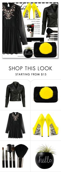 """Black and yellow"" by nerma10 ❤ liked on Polyvore featuring VIPARO, TaylorSays, Glamour Status, Alice + Olivia, yellow, black, dress, little and hello"