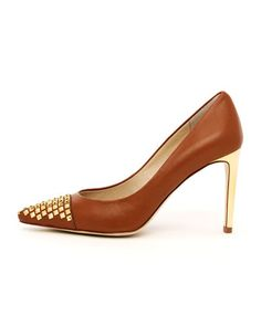 Michael Kors  Aria Stud-Toe Pump. Love the cognac leather & the studs but probably too high for my weak ass. $185