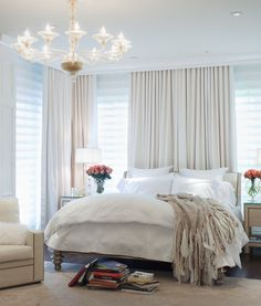Good Looking Venetian Blinds convention Phoenix Traditional Bedroom Decoration ideas with armchair ceiling lights chandelier color on color cream crown molding curtains dark wood floors