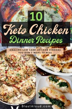 10 Healthy and delicious low carb keto chicken dinner recipes that will make you forget you're on a diet! Yummy keto meals that the whole family can enjoy, including yummy chicken soup, keto chicken casserole recipes, keto chicken pizza and a whole lot of other yummy recipes! Chicken Lunch Recipes, Keto Chicken, Chicken Pizza, Chicken Soup, Healthy Recepies, Healthy Low Carb Recipes, Low Carb Keto, Diabetic Meals, Keto Foods