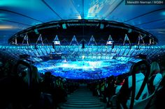 The Paralympic arena glowed blue on August 29th, 2012 for the Opening Ceremonies