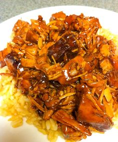 Crock Pot Style Bourbon Chicken! This is one of my favorites for sure! I served it over white rice. Next time ill add crunchy Chinese noodle topping things and steamed or grilled veggies