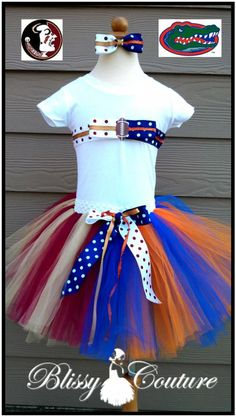House Divided Football Team Tutu Set Outfit 2 Teams!  By www.BlissyCouture.com