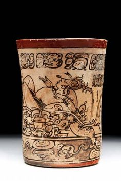 Mayan vessel. Calakmul. Ancient mayan nobility used to drink cacao in this.