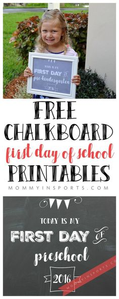 Looking for a free chalkboard printable for your child's first day of school? Print these out now, and have them hold it, or even frame it! Cute huh?!