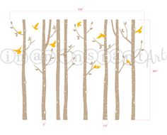 Set of 8 Birch Tree Wall Decal with Love Dove by InAnInstantArt