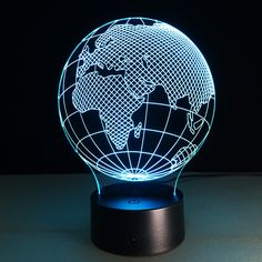 Acrylic Small Night Light Africa Map LED 3D Lamp 7 Color Change USB Remote Touch Switch Indoor Atmosphere Lamp Bedside Lamp #Affiliate