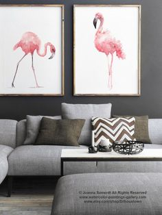 Flamingo Watercolor Painting, Set of 2 Birds, Pink Abstract Art Print, Flamingos…