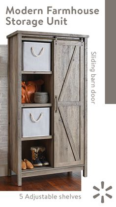 Add some fun and unique style to your home with this storage cabinet from the Better Homes and Gardens Modern Farmhouse collection. Behind the sliding barn door, it features five adjustable shelves for storing books, blankets, towels, board games and Rustic Decor, Farmhouse Decor, Modern Farmhouse, Farmhouse Style, Better Homes And Gardens, My New Room, Adjustable Shelving, Home Projects, Pallet Projects