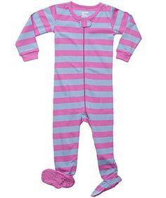 "Leveret Footed ""Striped Baby Girl"" Variety Pajama Sleeper 100% Cotton (Size 6M-5T) (12-18 Months, Purple & Denim)"