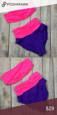 Catalina hot pink purple high waisted bikini 12 Super fun hot pink and purple high waisted bikini size 12 excellent shape! catalina Swim Bikinis