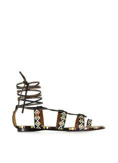 Valentino+Multicolor+Leather+Flat+Sandal