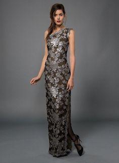 $428 Tadashi Shoji Embroidered Sequin Lace Duchess Grey One  Shoulder Dress Gown #TadashiShoji #BallGown #Formal