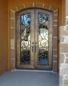 Lovely Wrought Iron Door: Marietta Arch Top Double