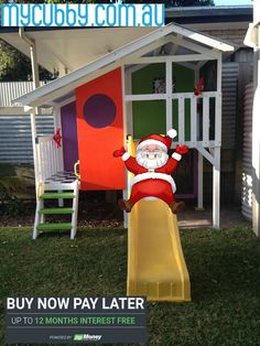 Everyone loves a slide! You can still pick up a cubby, right up until Christmas Eve from Kippa Ring or we can deliver to Brisbane/ Sunshine Coast/ Gold Coast.  Call 1800 121 513 or visit www.mycubby.com.au  #MyCubby #CubbyHouse #Santa #Christmas #Cubbies #ChristmasPresent #InterestFree #Slide #Present