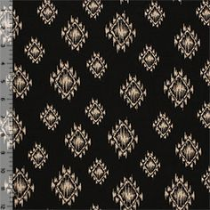 Beige Ethnic Eye on Black Cotton Jersey Blend Knit Fabric