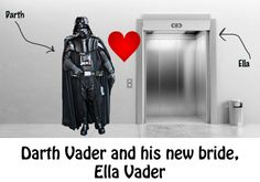 Darth Vader gets married  https://www.facebook.com/neatoramanauts/photos/a.229354979012.134642.75467339012/10151506341204013/?type=3