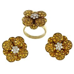 VAN CLEEF & ARPELS Golden Sapphire and Diamond Ring and Earrings